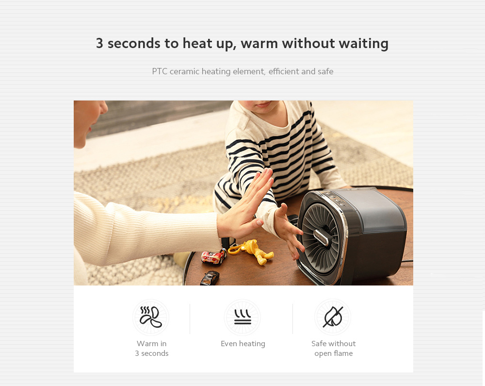 MR2020 Electric Desktop Heater 3 seconds to heat up, warm without waiting