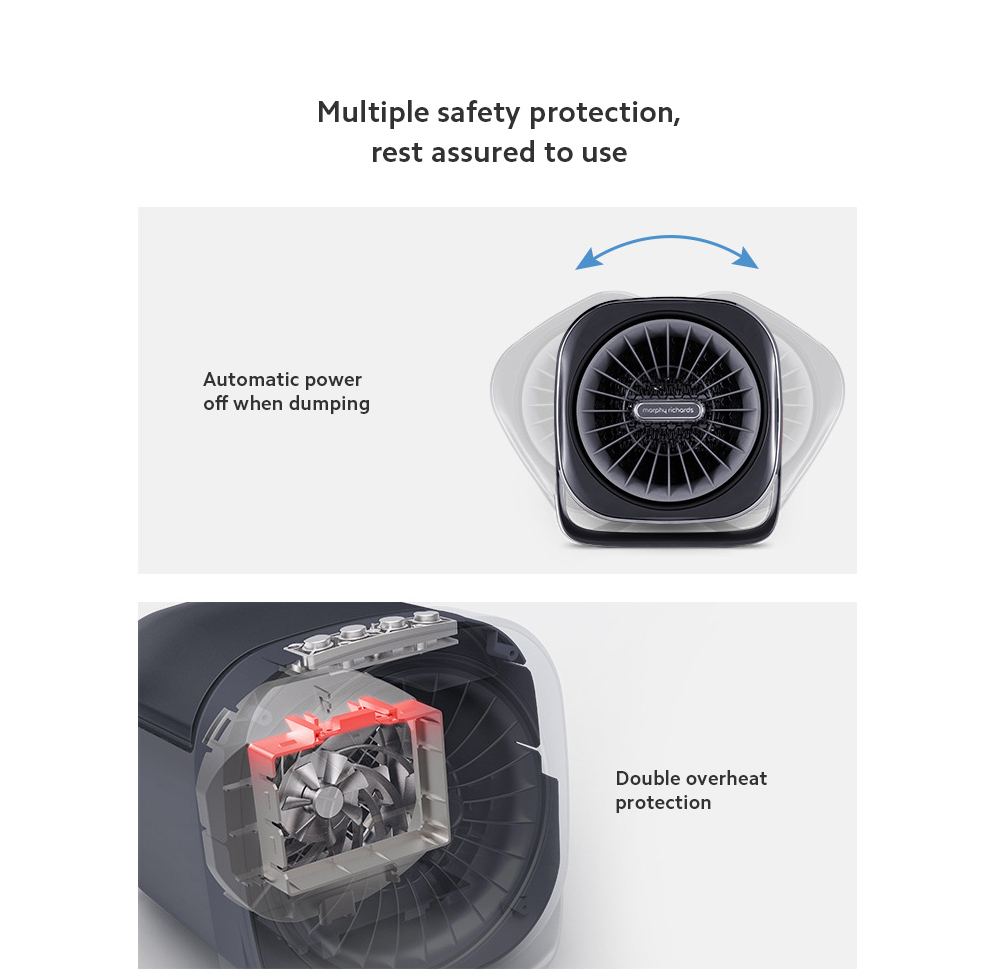 MR2020 Electric Desktop Heater Multiple safety protection, rest assured to use