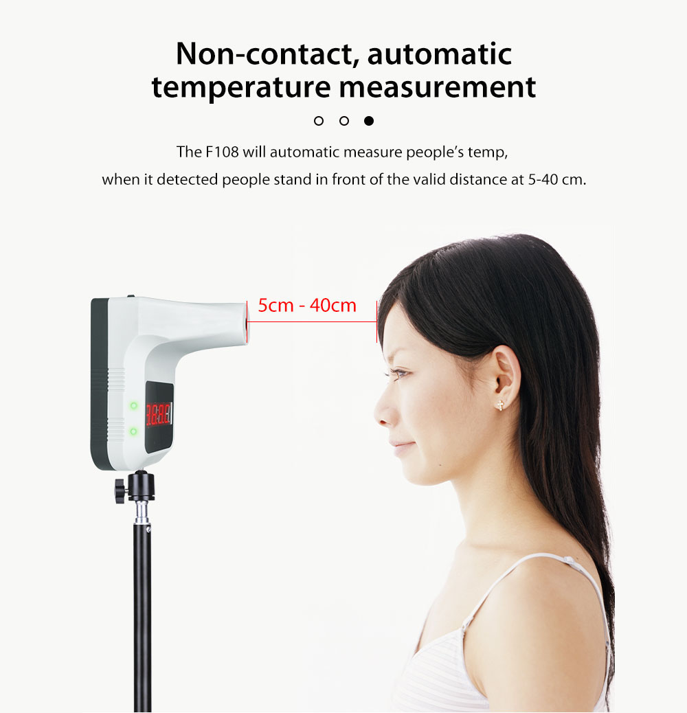 Wall-mounted Non-contact Infrared Thermometer Voice Broadcast Thermometer - White