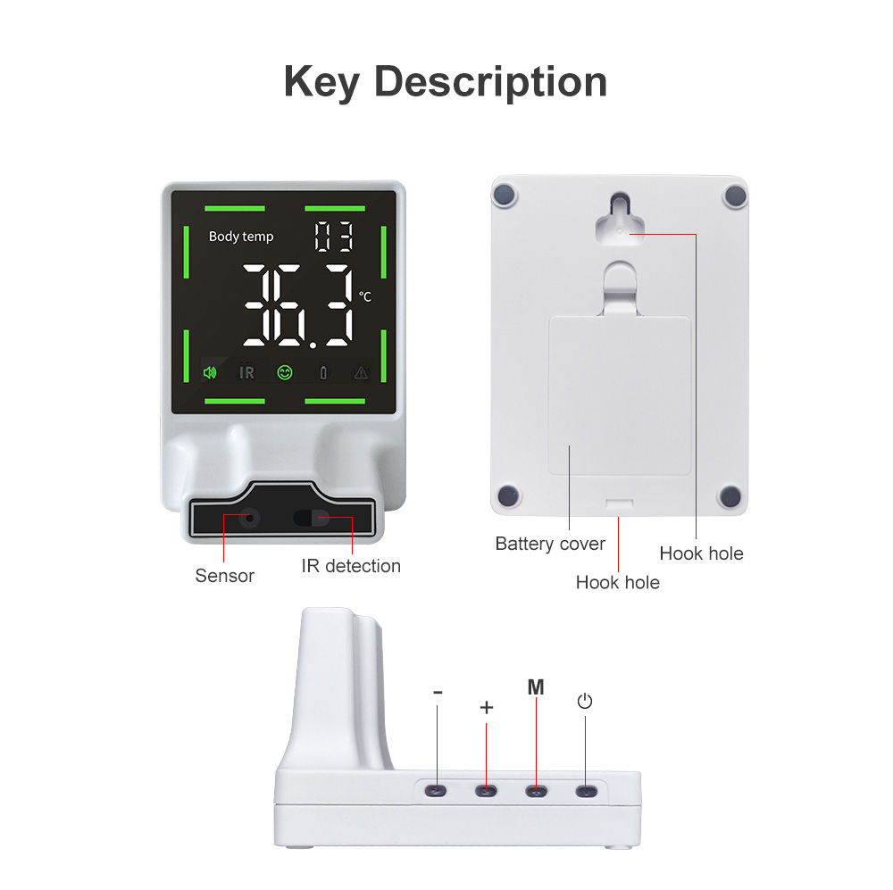 Wall-mounted Infrared Automatic Non-contact Thermometer Key Description