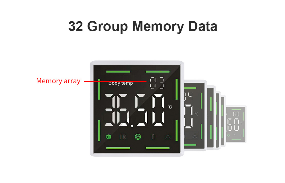 Wall-mounted Infrared Automatic Non-contact Thermometer 32 Group Memory Data