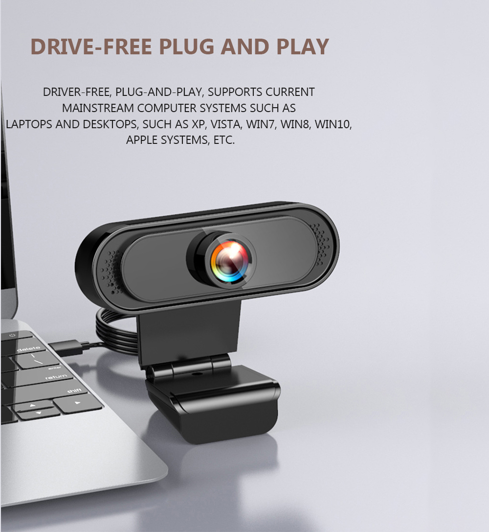 Conference Camera Webcam Network Computer 720P HD Live Broadcast New USB Video Teaching - Black 720P