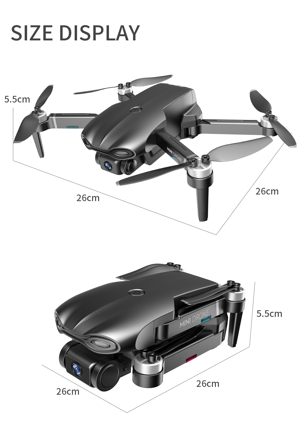 Mini Drone Quadcopter Folding GPS 5G 6K HD WiFi 1200 Meters Long Picture Transmission Drone Aerial Shot - Gray One Battery