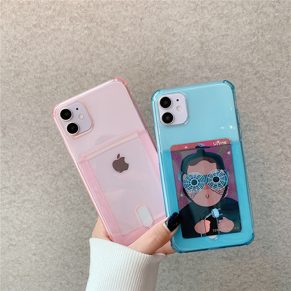 Case For iPhone 12 Mini / 12 / 12Pro  ID Credit Card Slot Soft TPU Back Cover - Blue 11