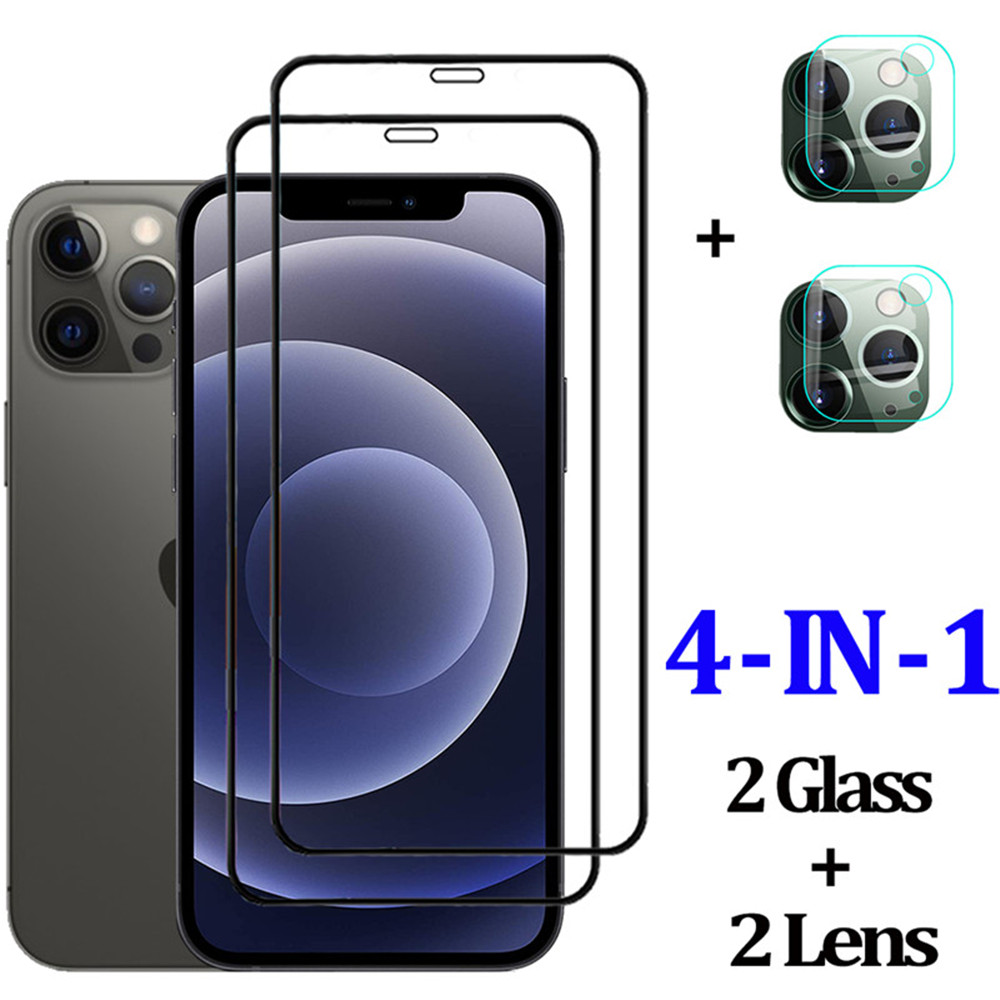 2PCS Lens And 2PCS Screen Protector Film For iphone 12 / 12Pro Protective Glass - Black 12Pro