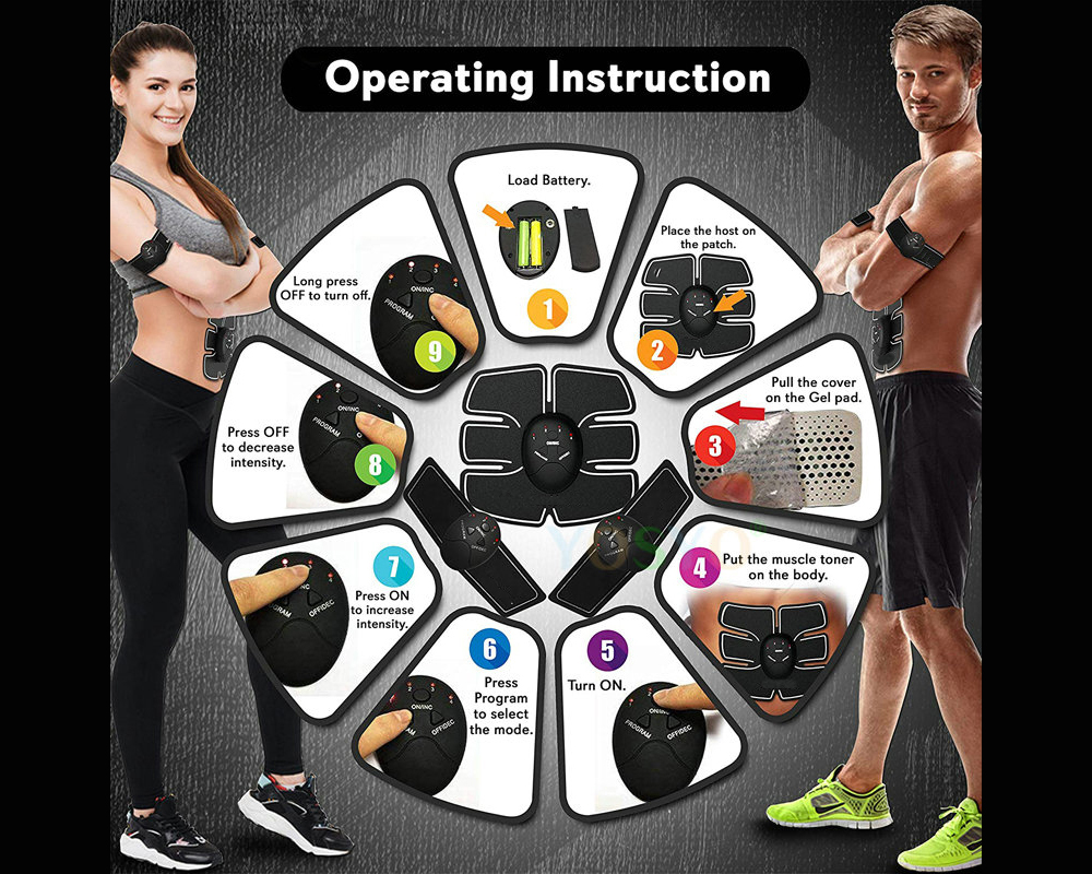 Smart EMS Abdominal Trainer Muscle Training Fitness Device Exercise Equipment - Black Battery Version