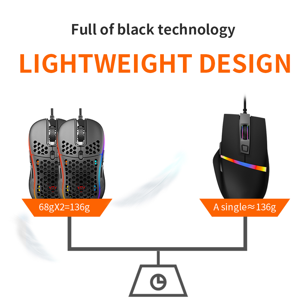 RGB Gaming Mouse Hollow Porous Honeycomb Ergonomic Lightweight Colorful Gaming Mouse For Office Computer - Black
