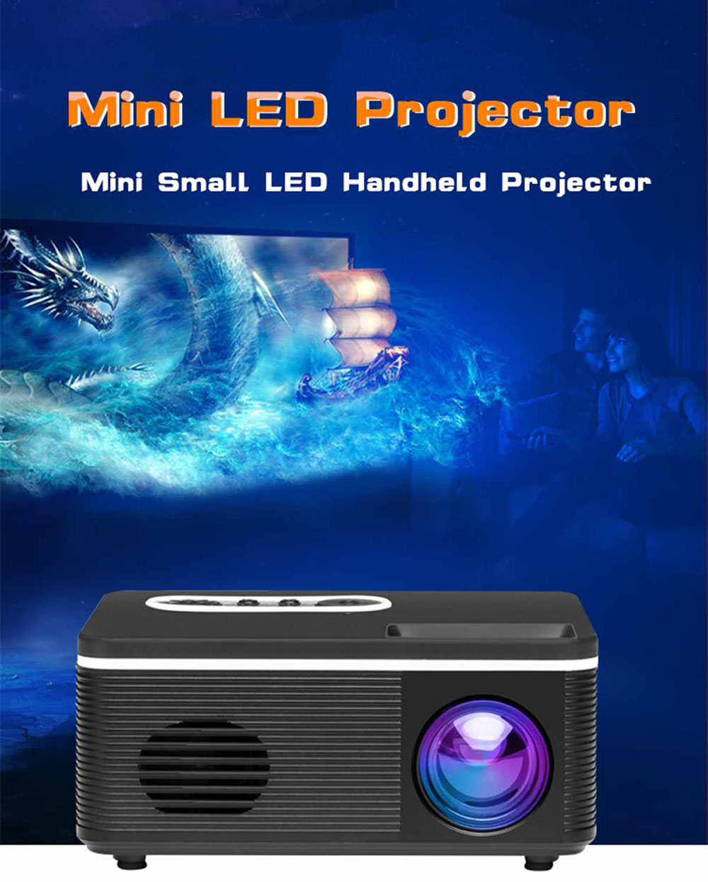 Bilikay S361 Portable Mini LED Projector HDMI supports HD 1080p video player home media player built-in speaker - White EU Plug