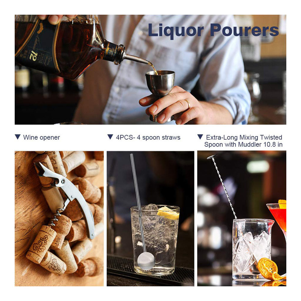 304 Stainless Steel Cocktail Shaker Wine Tool 14pcs - Silver 550ml