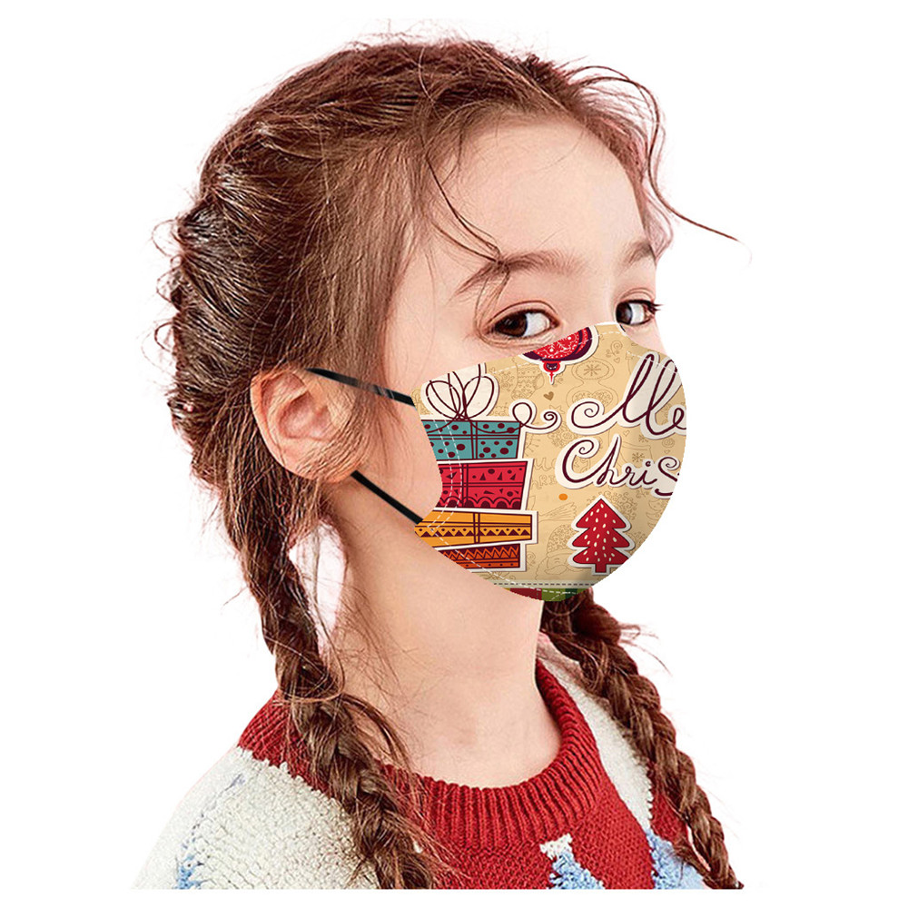 Merry Christmas Gift Bag Printed Air Layer Fabric Face Mask - Multi-A 5pcs
