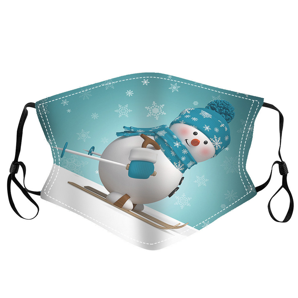 Merry Christmas Snowman Printed Air Layer Fabric Face Mask - Multi-A 3pcs