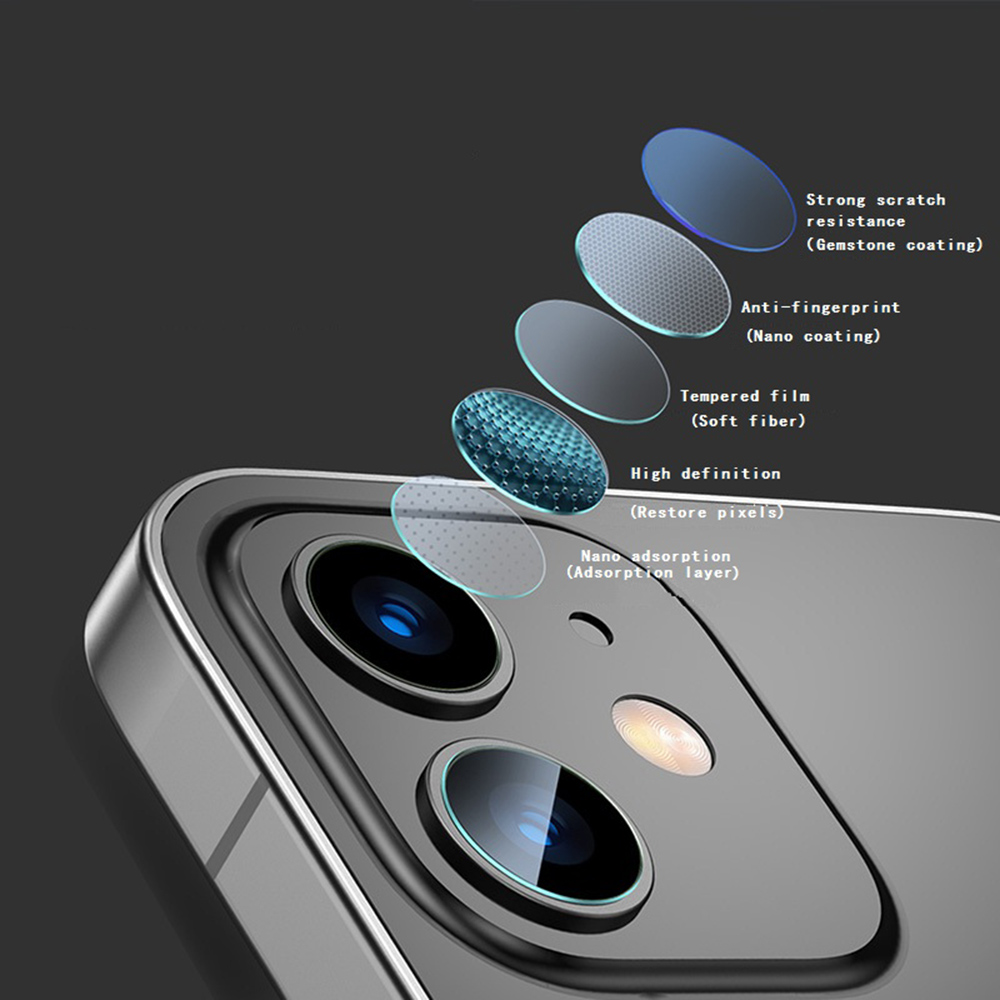 KINSTON 3D 9H HD Camera Lens Tempered Glass Screen Protector Film for iPhone 12 - Transparent
