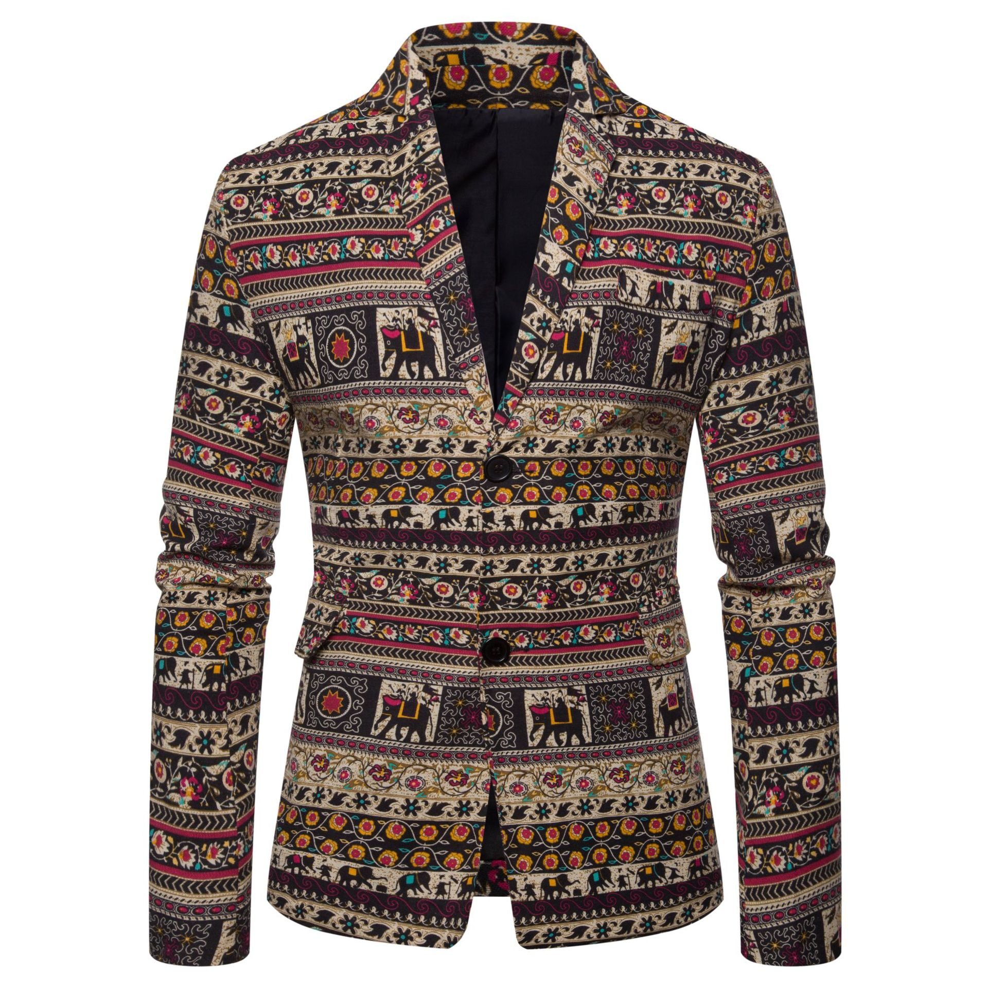 Large Size Men's National Wind Printed West Dress Male Two Buckles Suit Jacket - color 4XL