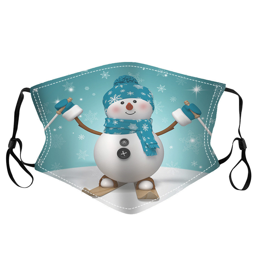 Merry Christmas Snowfield Snowman Printed Air Layer Fabric Face Mask - Multi-A 1pc