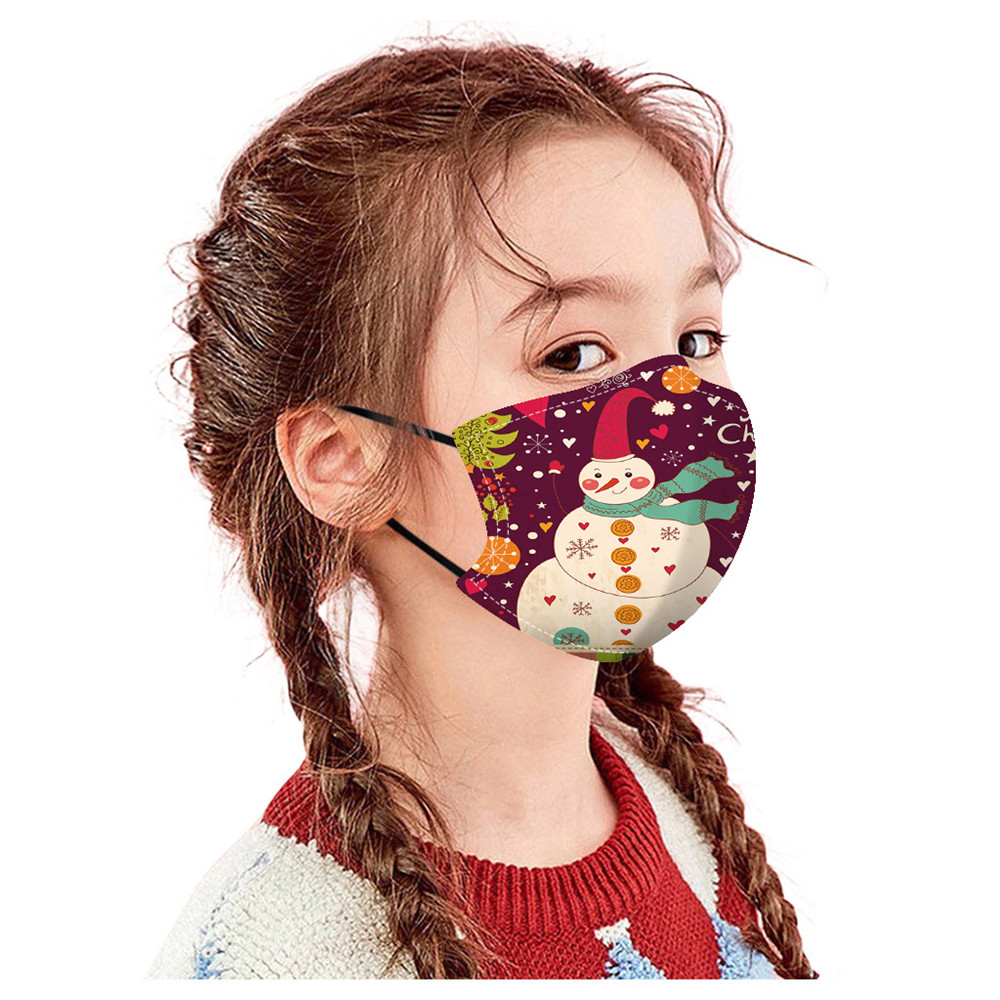 Christmas Printed Air Layer Fabric Face Mask - Multi-G 1pc