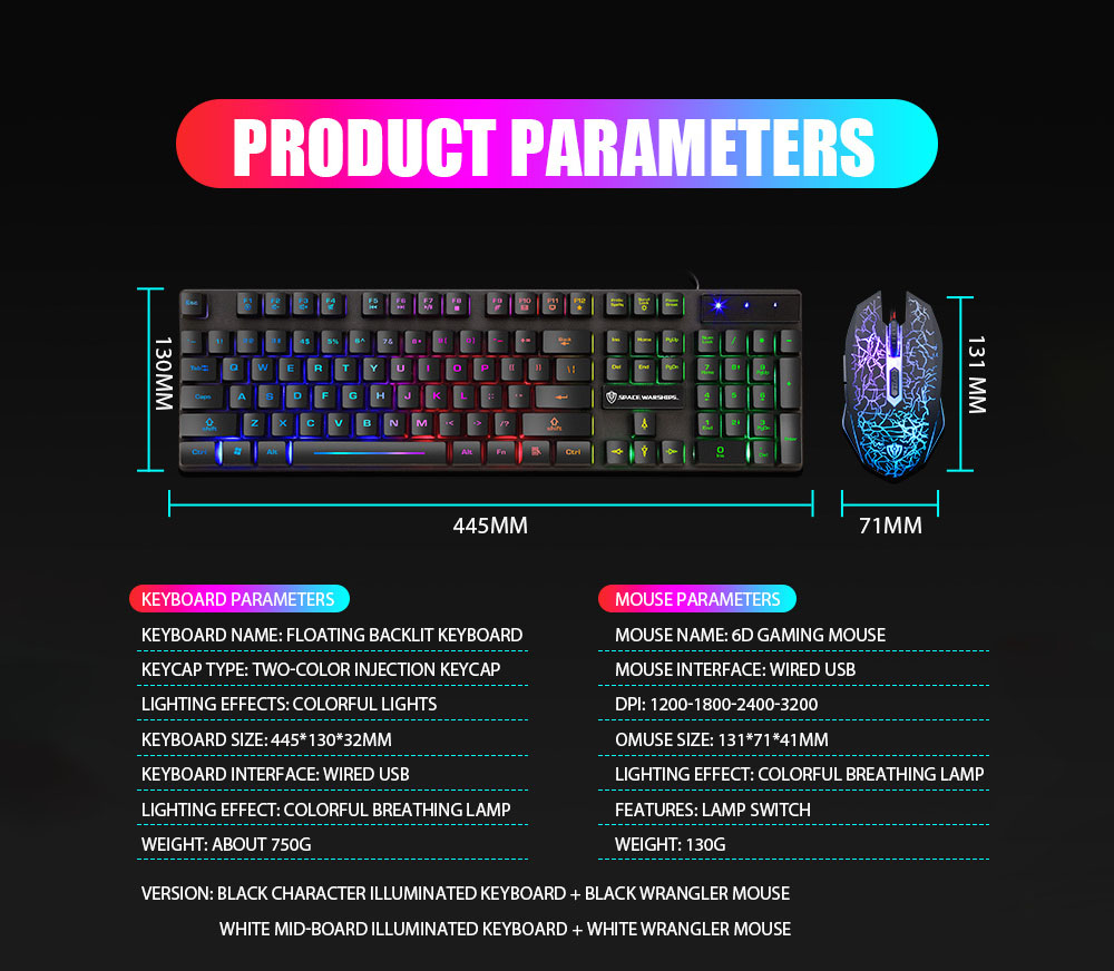 Gaming Keyboard Mouse Wired Keyboard with LED Backlight Waterproof Computer Game Keyboards Gamer Gaming Mouse Set for Laptop PC - White