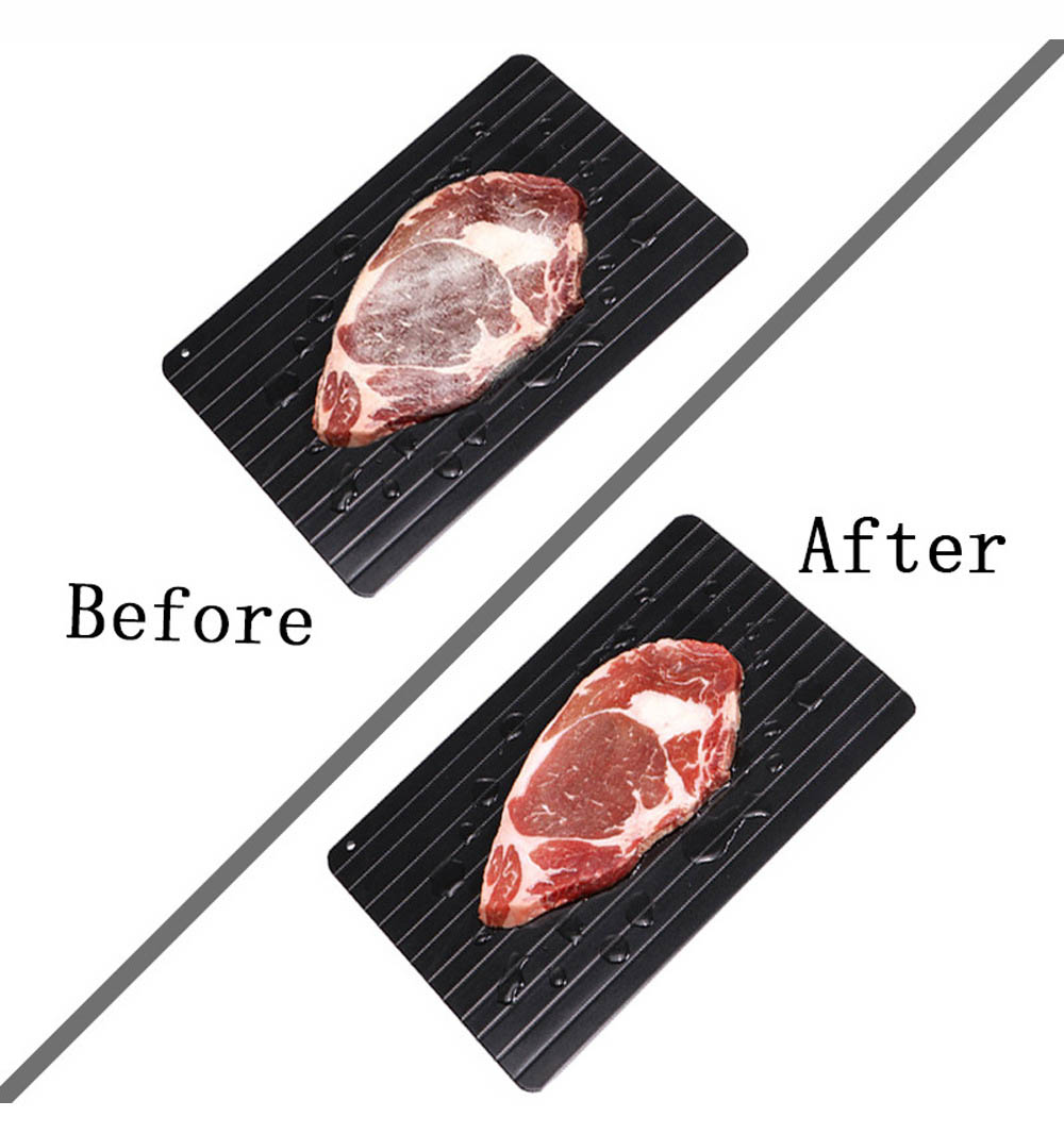 CG908 Personalized Aluminum Plate Steak Thawing Frozen Food Quickly Thaw Meat Plate - Black 23*16*0.3CM