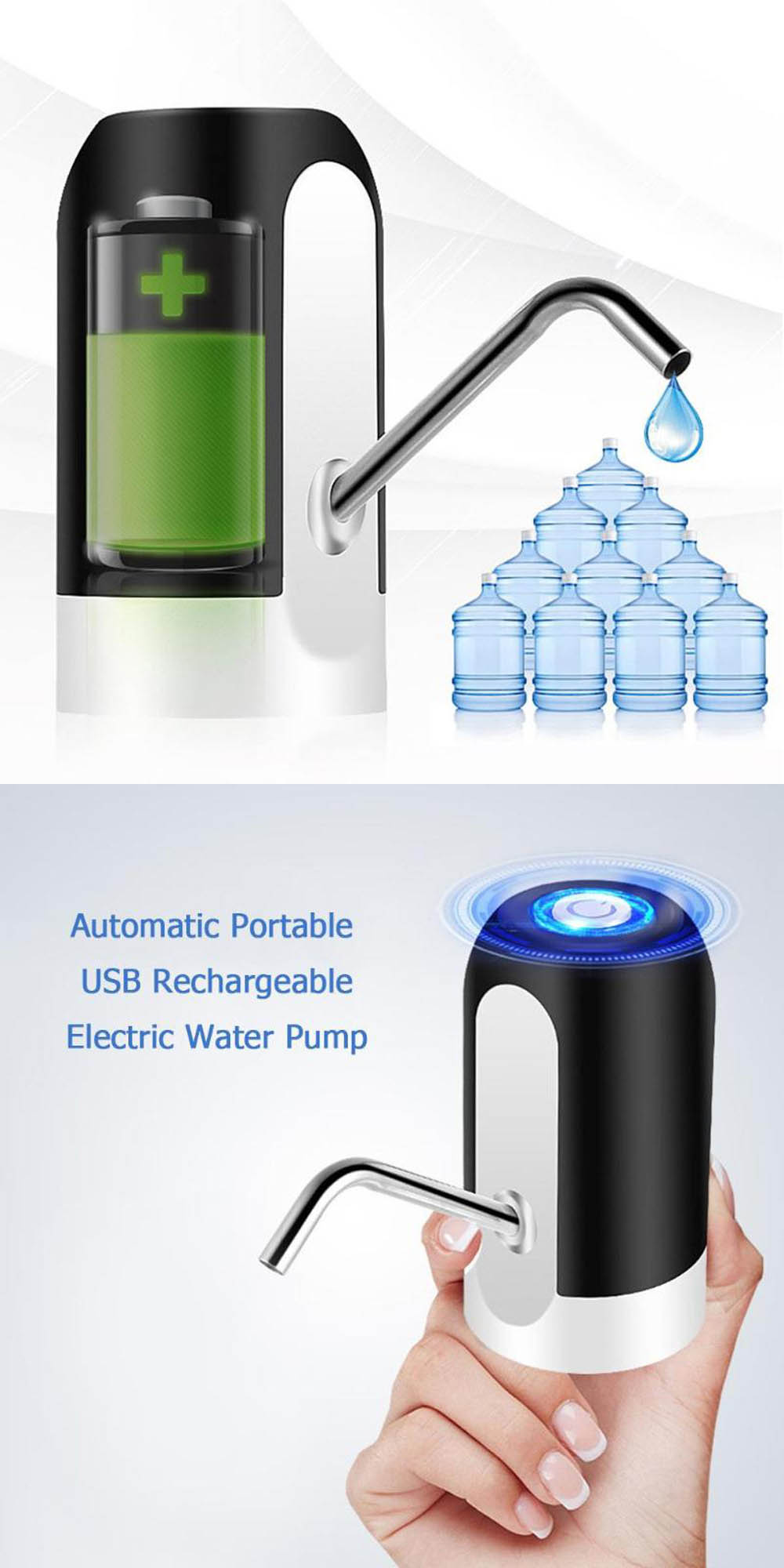 Water Bottle Pump Control Electric Home Charging Voltage Mineral Water Absorbed Automatic - Black