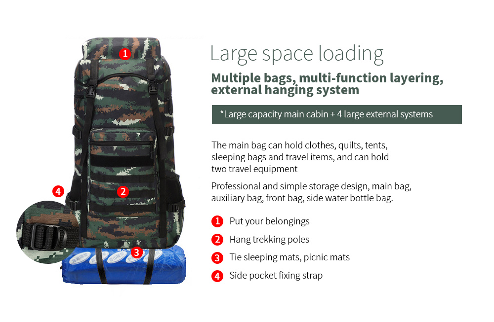 Large-capacity Outdoor Backpack Large space loading
