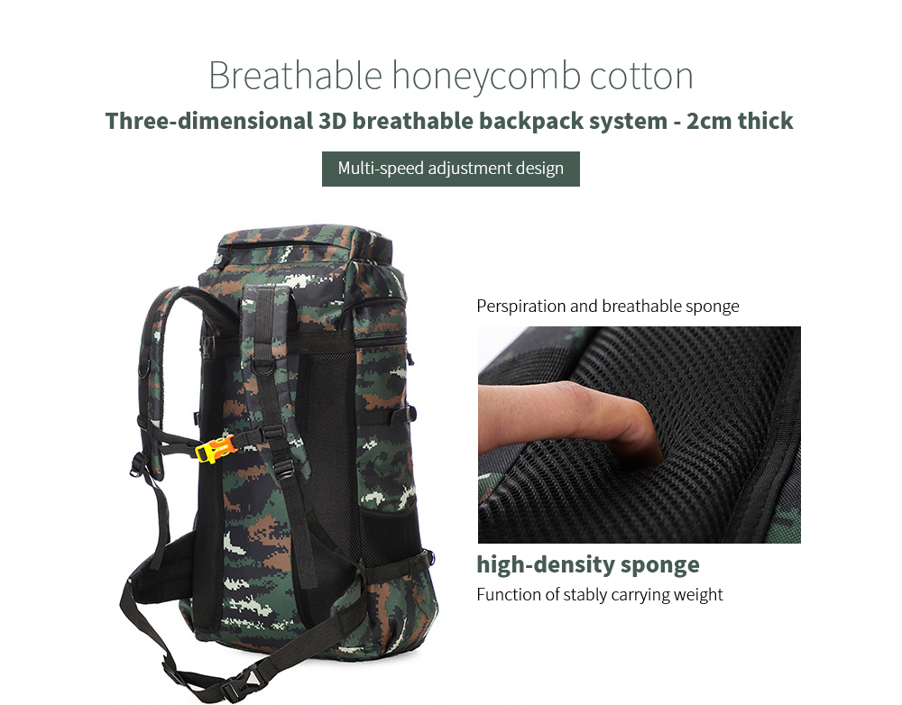 Large-capacity Outdoor Backpack Three-dimensional 3D breathable backpack system