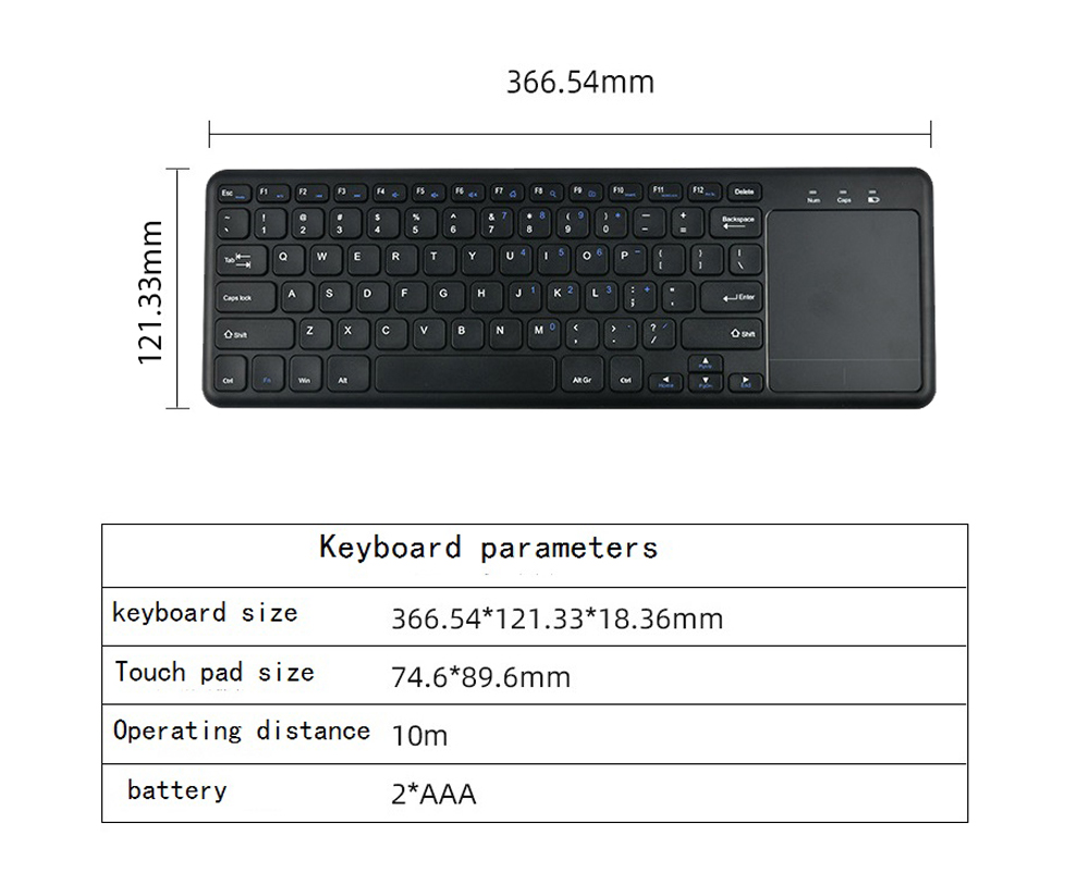 2.4G Wireless Keyboard with Touchpad Slim for Office Notebook - Black