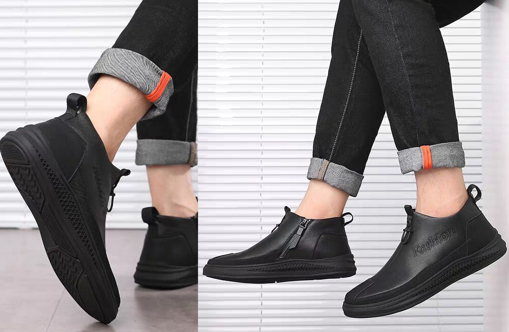 Autumn and Winter Men's All-match Leather Short Boots MODEL SHOW
