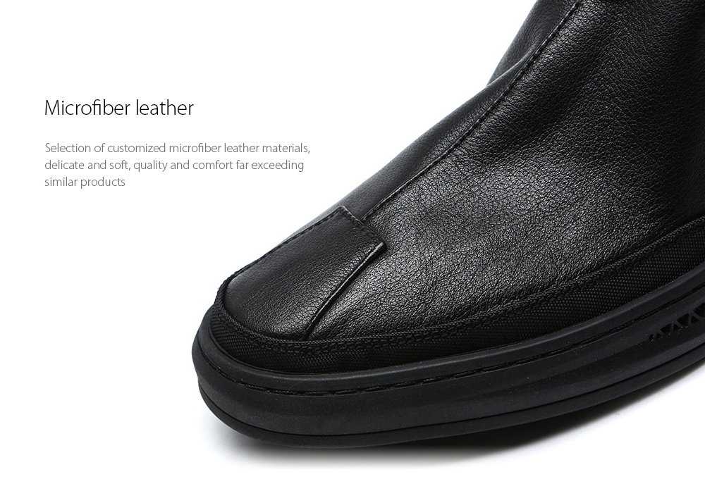 Autumn and Winter Men's All-match Leather Short Boots Microfiber leather