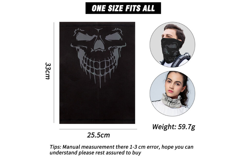 Winter Outdoor Cycling Mask Skull Reflective Colorful Pattern Warm and Windproof Fleece Cool Face Protective Gear - Cadetblue