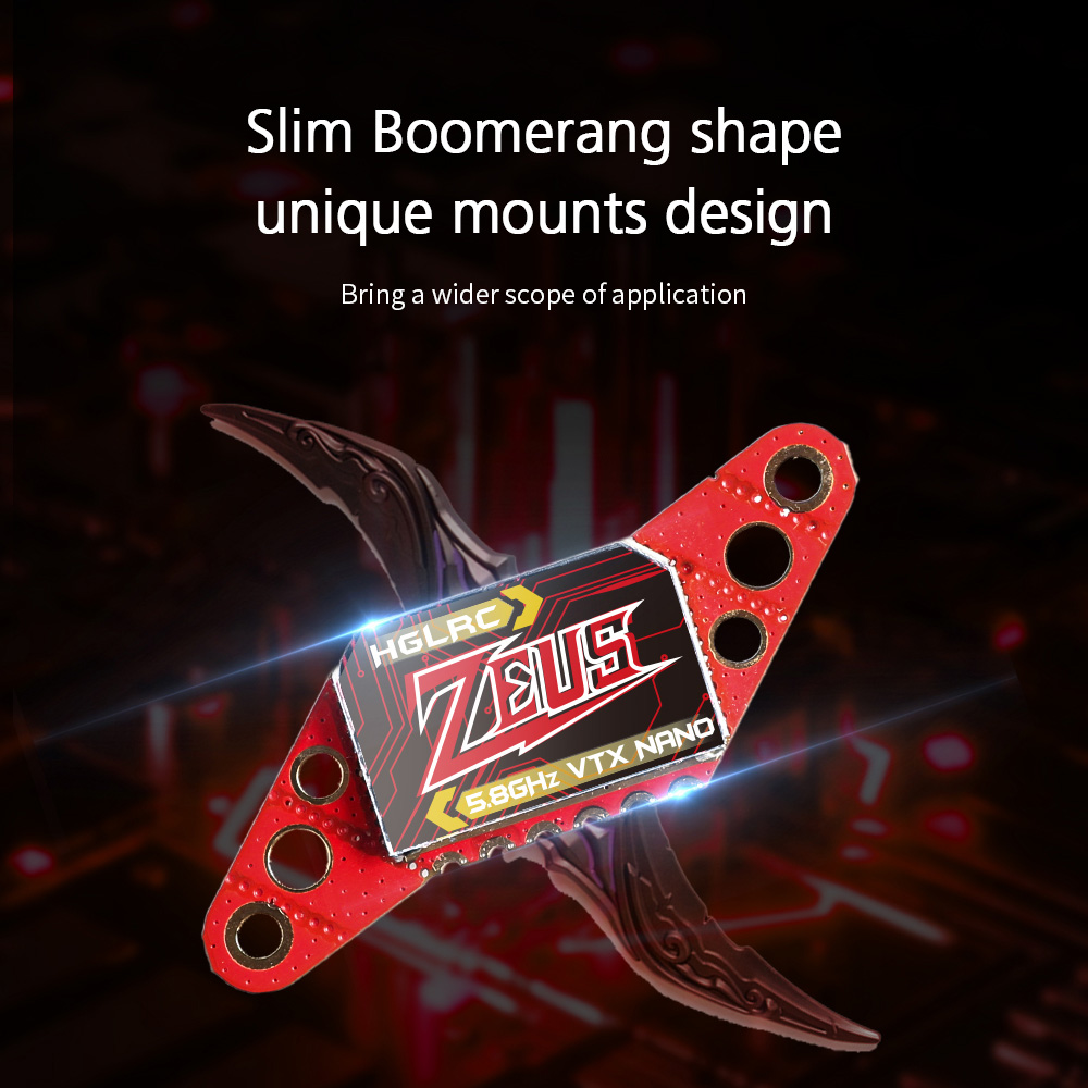 HGLRC Zeus Nano VTX 350mW Aerial FPV5.8G Image Transmission Power Adjustable with Microphone - Red