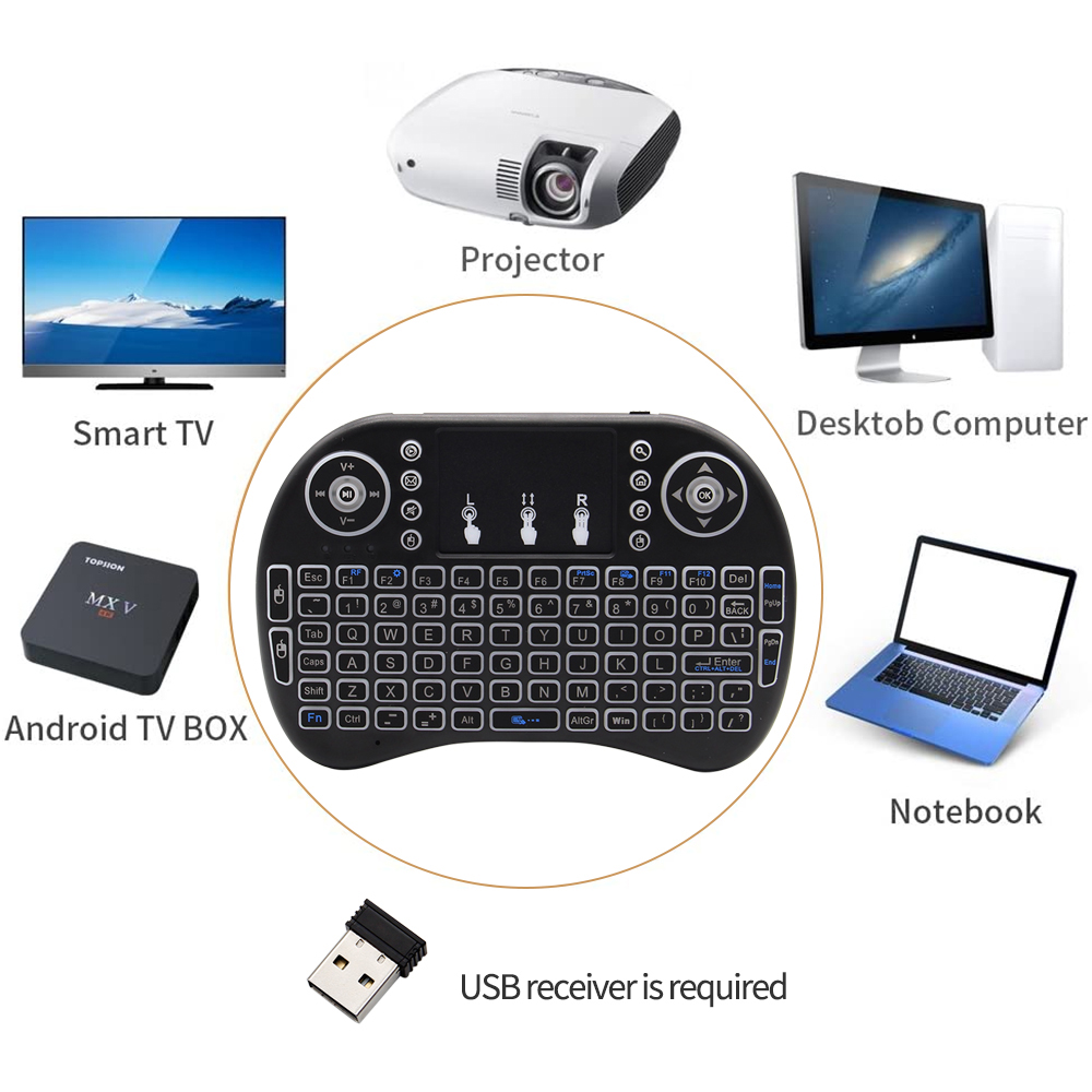 i8 Wireless Keyboard Mouse Mini Lithium 2.4G Smart Touch Version - Black