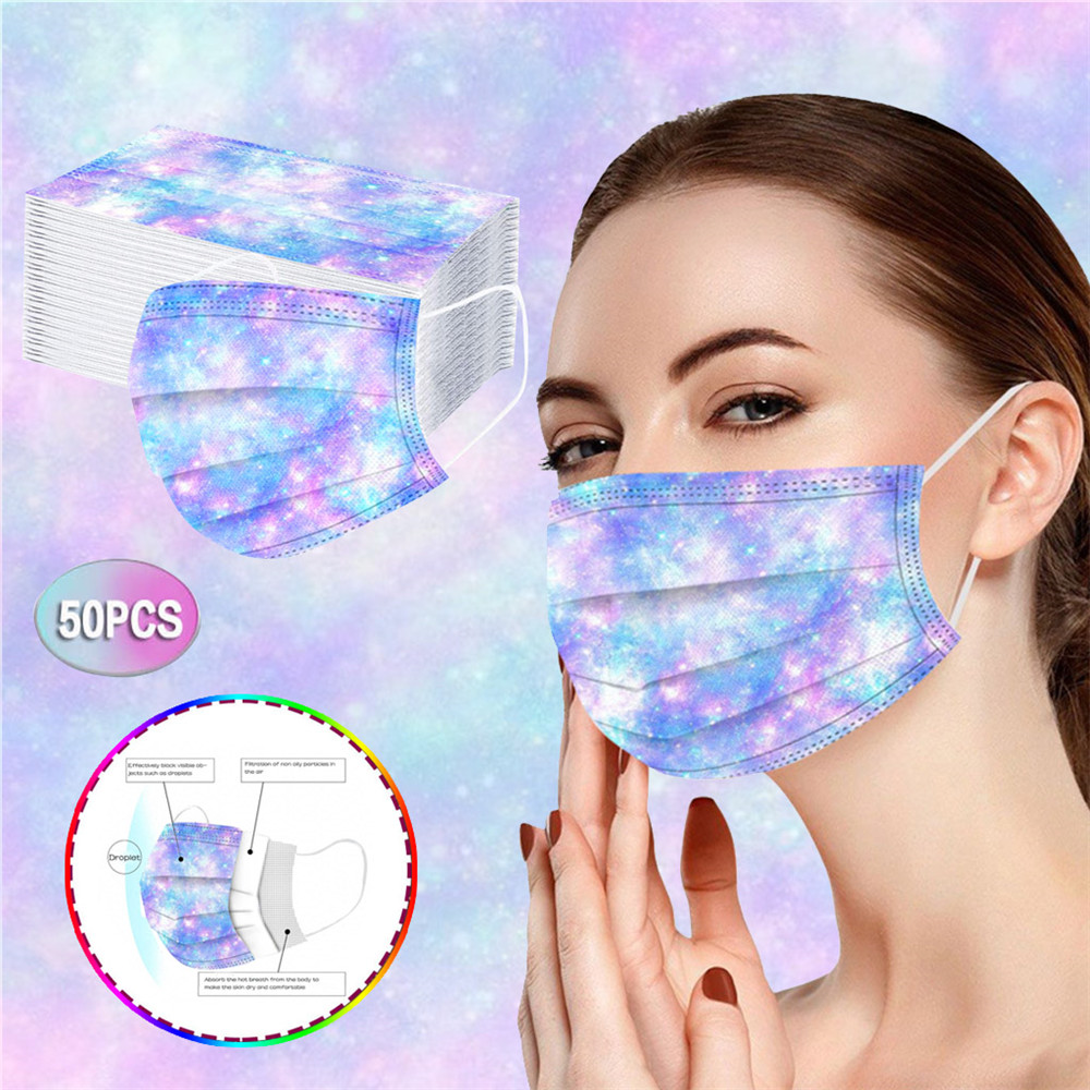 Disposable Adult Mask Printed Spunlaced Cloth Face Masks - Multi-B 10pcs