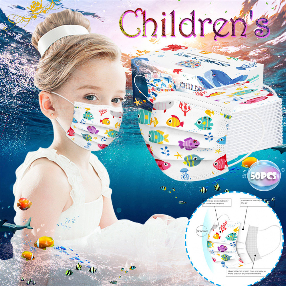 Disposable Ocean Printed Air Layer Fabric Face Mask - Multi-C 5pcs
