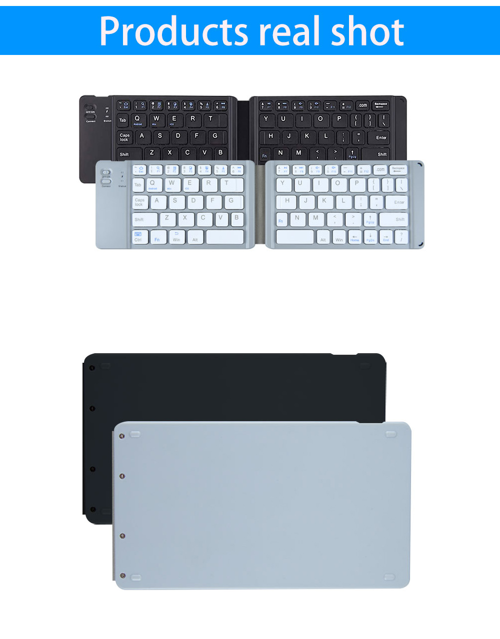 BT18 Bluetooth Foldable Keyboard Wireless Mini Keyboard Three Systems Universal for Mobile Phone Tablet - Platinum