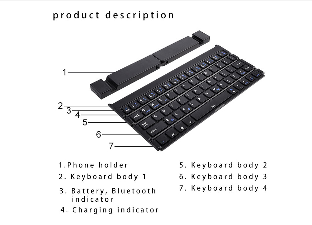 Keyboard Tri Fold Bluetooth Ultra Thin Tablet Phone Touchpad Wireless Multi Function - Black
