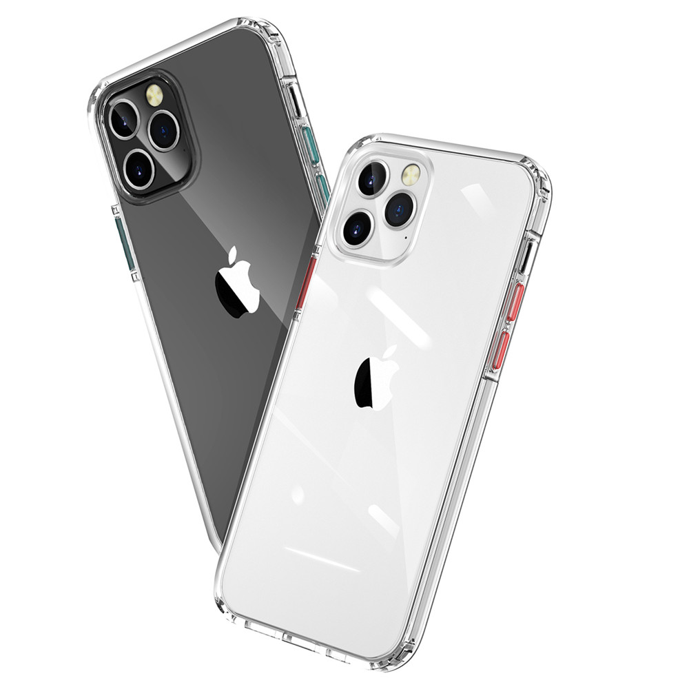 Color Button Transparent Soft TPU Phone Case For iPhone 12 Mini / 12 Pro Max - Green 11