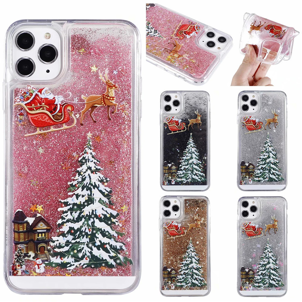 Merry Christmas Quicksand Glitter Phone Case For iPhone 12 Mini / 12 / 12Pro Max - Silver 11 pro max