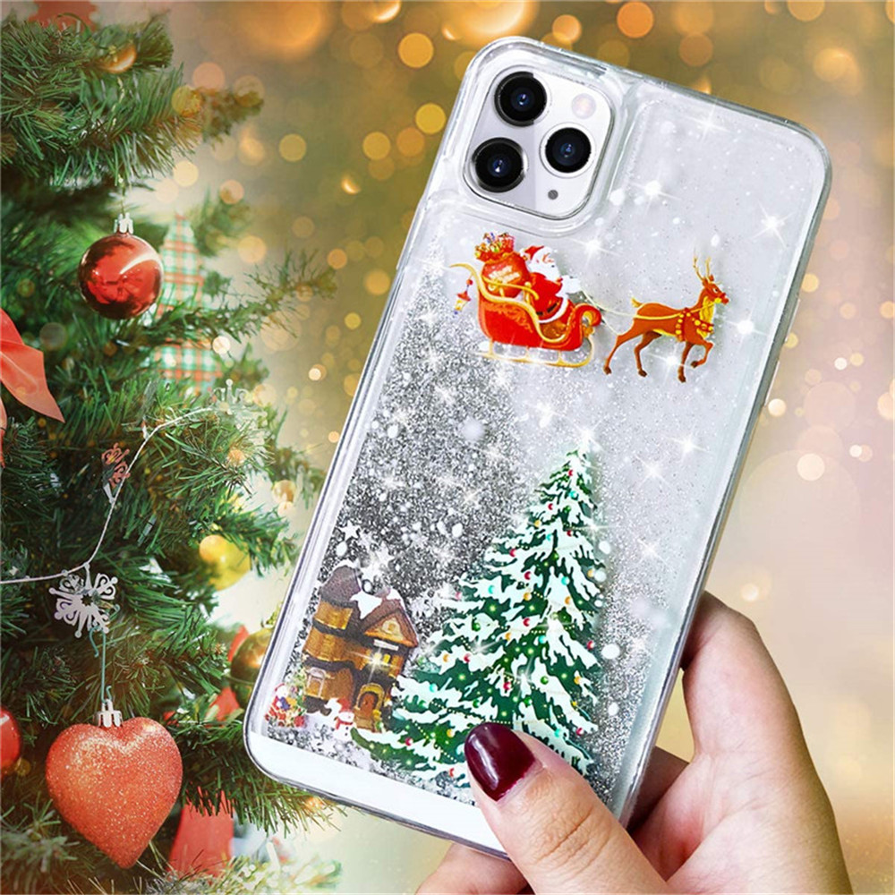 Merry Christmas Quicksand Glitter Phone Case For iPhone 12 Mini / 12 / 12Pro Max - Black 11