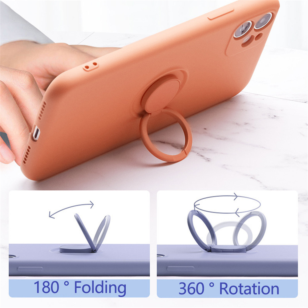 Silicone With Ring Holder Magnetic Cover Case For iPhone 12 - Pink 12 Mini