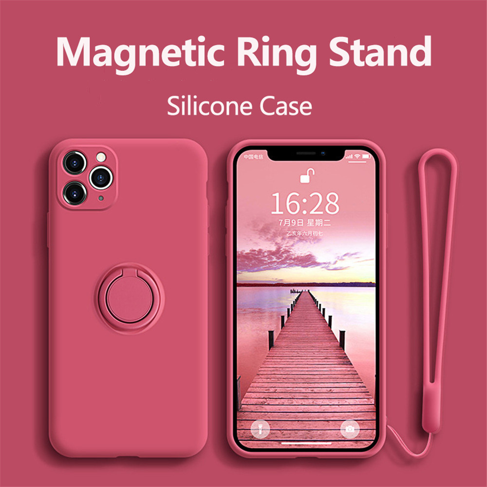 Silicone With Ring Holder Magnetic Cover Case For iPhone 12 - Red Wine 11