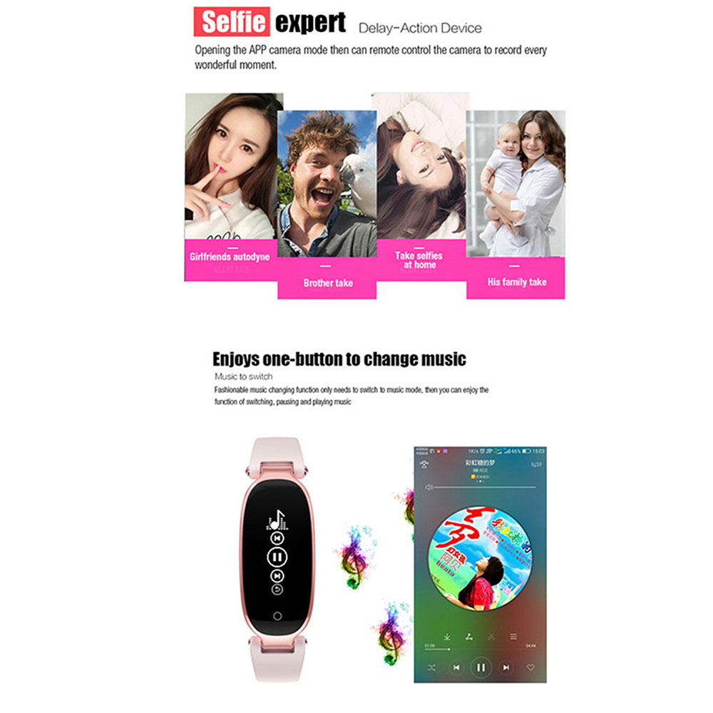 S3 Smart Bracelet Female Casual Fashion Sleep Heart Rate Music Player Remote Control Camera Movement Anti Lost - Rose Gold