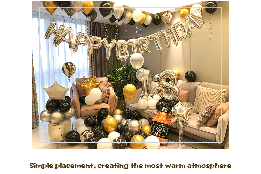 Happy Birthday Boys and Girls Aluminum Film Balloon Set Simple placement, creating the warmest atmosphere