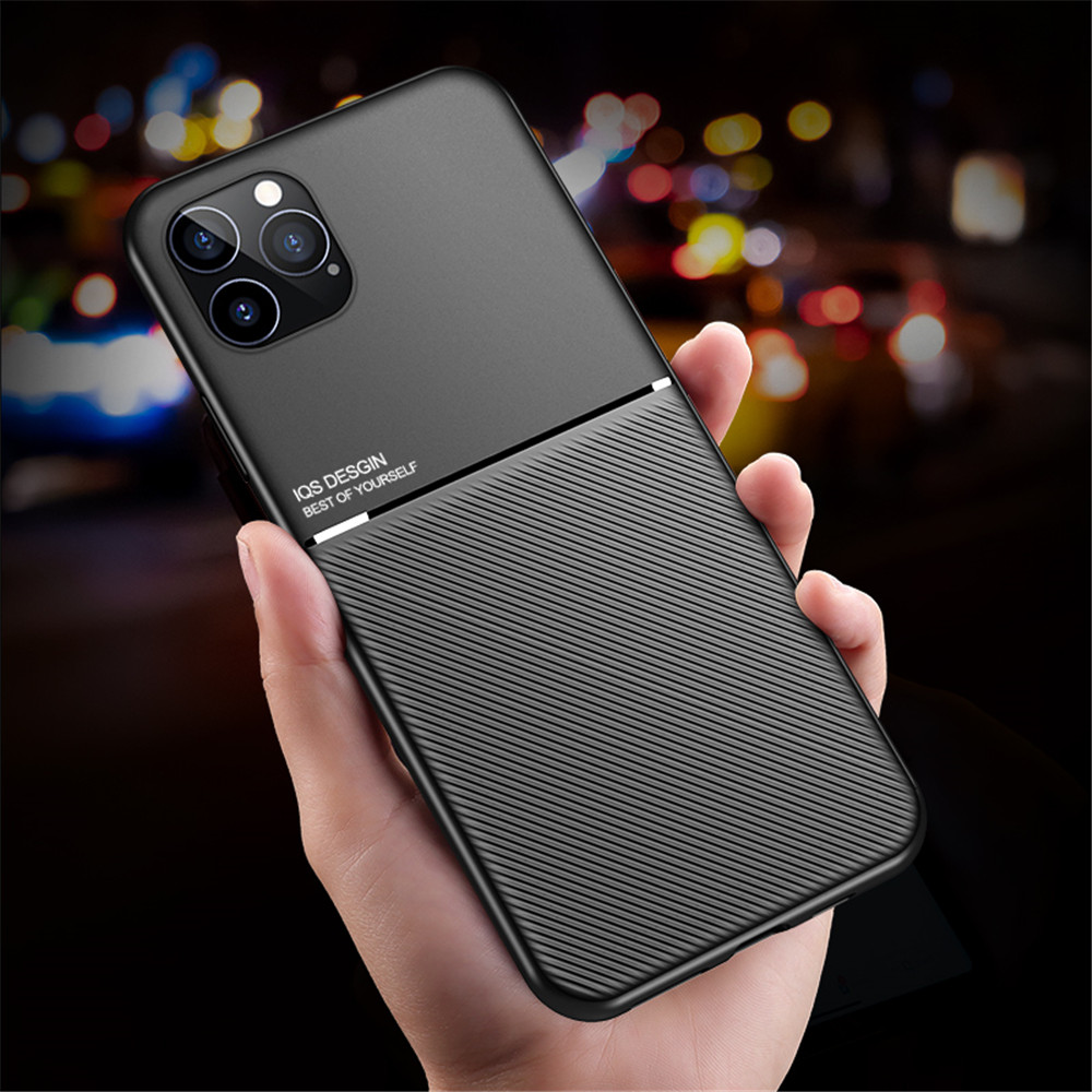 PU Leather Line Texture TPU Frame Magnetic Case For iPhone 12 Mini / 12 Pro Max - Black 12 Mini