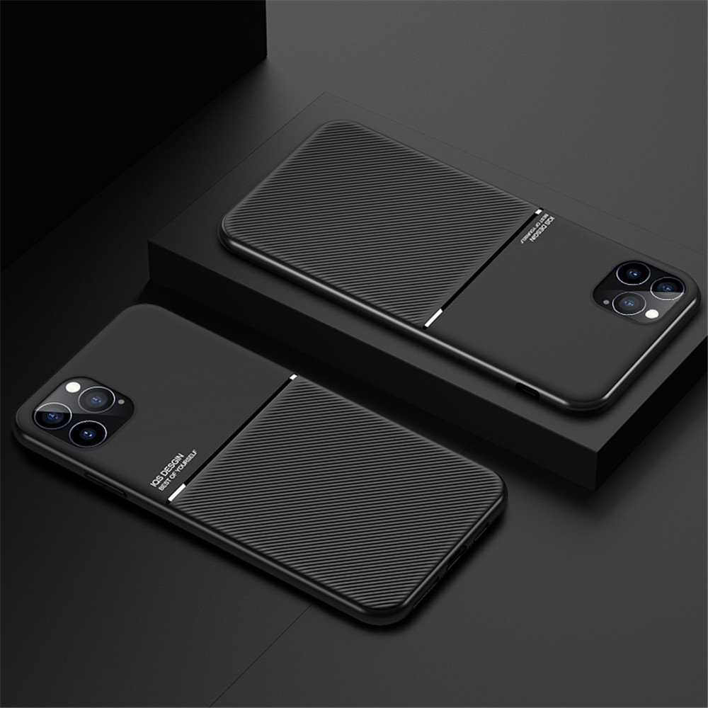PU Leather Line Texture TPU Frame Magnetic Case For iPhone 12 Mini / 12 Pro Max - Black 12