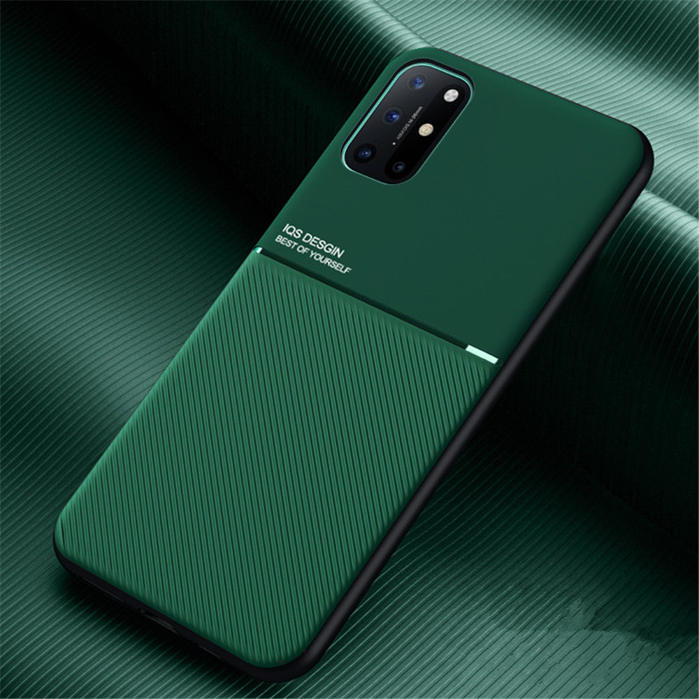 PU Leather Line Texture TPU Frame Magnetic Case For OnePlus 8T / One Plus 8 Pro - Green 1+8 Pro