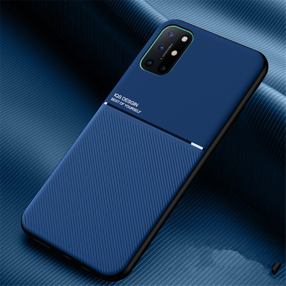 PU Leather Line Texture TPU Frame Magnetic Case For OnePlus 8T / One Plus 8 Pro - Black 1+8T