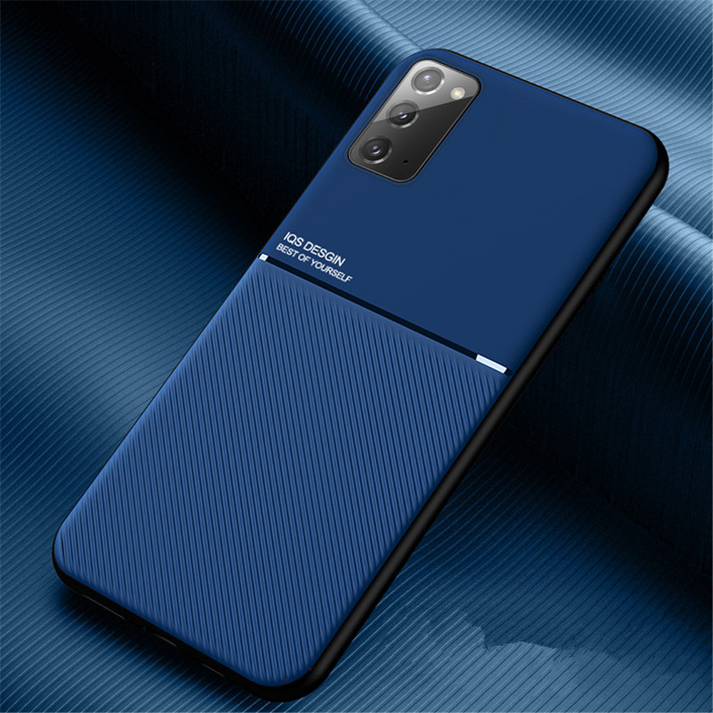 PU Leather Line Texture TPU Frame Magnetic Case For Samsung Galaxy S20 FE - Blue A71 5G