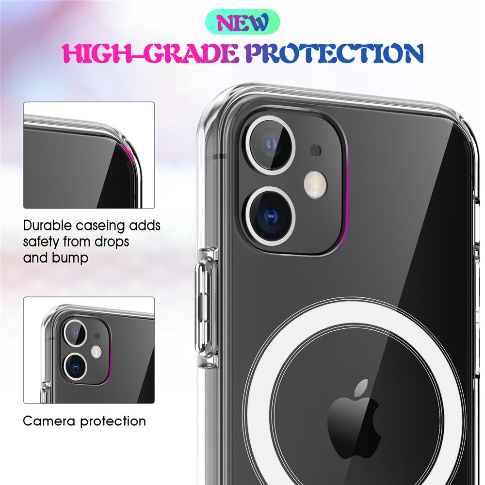 Support Wireless Charging Drop Protection Case For iPhone 12 Mini / 12 Pro Max - Transparent 12 Pro