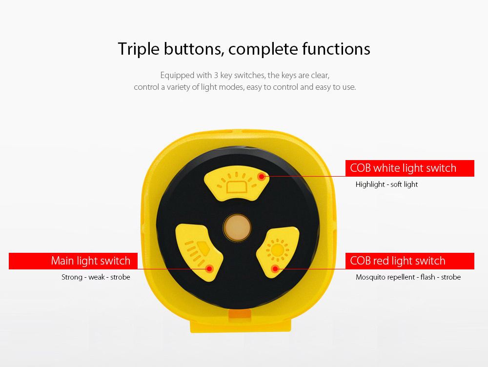 LED Camping Light Triple buttons, complete functions