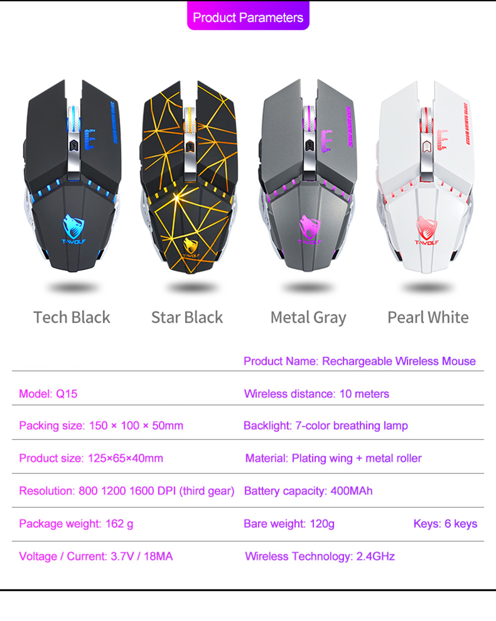T-wolf Q15 Wireless Gaming Mouse - Silver metal gray