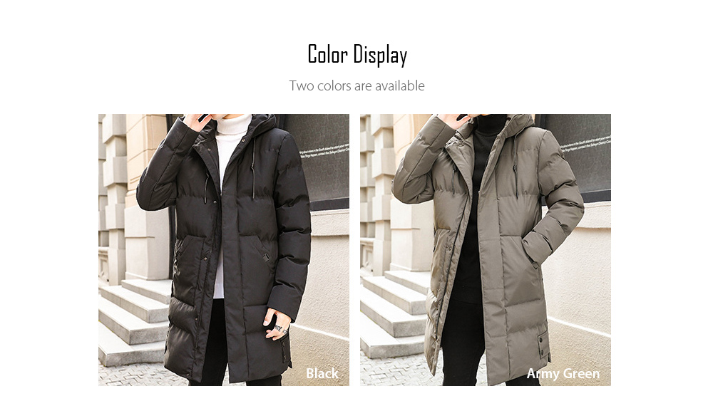 Winter Men's Mid-length Cotton Coat Thicken Warm Couple Large Size Padded Jacket - Black 6XL Color Display